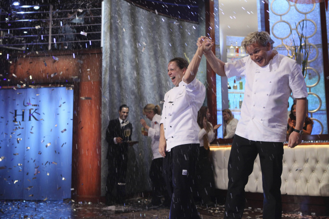 `Hell's Kitchen` Chef Ramsay announces Christina as the winner on part two of the season finale on FOX. (photo ©2012 Fox Broadcasting Co./credit: Patrick Wymore/FOX)