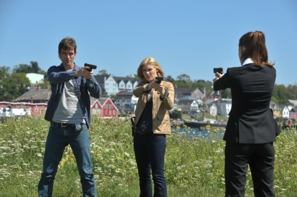 Pictured from `Haven`: Lucas Bryant as Nathan Wournos and Emily Rose as Audrey Parker. (Photo by Chris Reardon/Syfy)