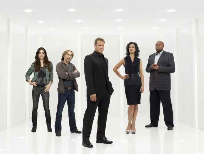 Pictured from `Human Target: are stars Mark Valley (center, Chance), Janet Montgomery (Ames), Jackie Earle Haley (Guerrero), Indira Varma (Ilsa) and Chi McBride (Winston). (photo ©Fox Broadcasting Co./CR: Mathieu Young)