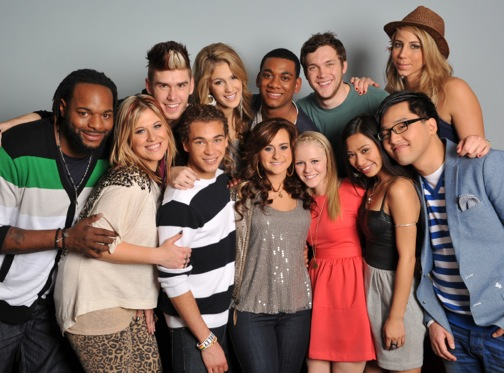 `American Idol` Top 12. Clockwise from top right: Elise Testone, Heejun Han, Jessica Sanchez, Hollie Cavanagh, Skylar Laine, DeAndre Brackensick, Erika Van Pelt, Jermaine Jones, Colton Dixon, Shannon Magrane, Joshua Ledet and Phillip Phillips. (photo by Michael Becker/FOX)