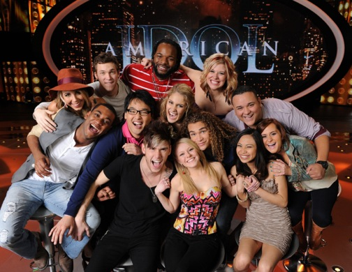 `American Idol: The Final 13: clockwise from top center are Jermaine Jones, Erika Van Pelt, Jeremy Rosado, Skylar Laine, Jessica Sanchez, DeAndre Brackensick, Hollie Cavanagh, Shannon Magrane, Colton Dixon. Heejun Han, Joshua Ledet, Elise Testone and Phillip Phillips. (photo by Michael Becker/FOX)