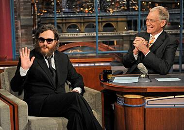 Joaquin Phoenix chats with David Letterman in 2009. (photo courtesy of CBS)
