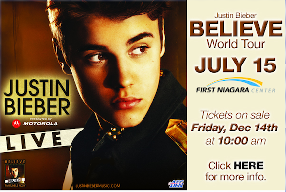 Justin Bieber brings his `Believe` world tour to Buffalo's First Niagara Center in 2013.