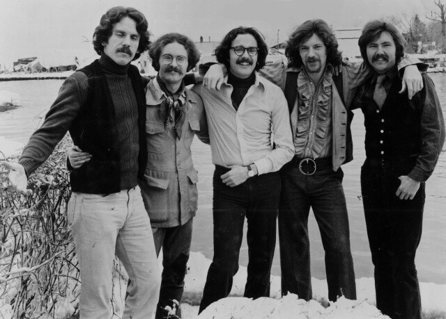 King Harvest members Sherman Kelly (left), Eddie Tuleja, Olcott native Ron Altbach, Dave `Doc` Robinson, and Rod Novak pose together for a promotional photo in 1973. King Harvest performs Saturday in Olcott.