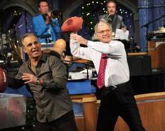 Jay Thomas and David Letterman. (CBS photo)