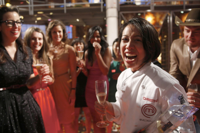 `MasterChef` contestant Christine Ha is crowned the winner in the second part of the `Winner Chosen` season finale on FOX. (photo by Greg Gayne/FOX)