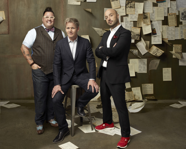 `MasterChef`: Chef Gordon Ramsay (center), restaurateur and wine maker Joe Bastianich (right), and chef Graham Elliot return as judges for the third season. (photo ©2012 Fox Broadcasting Co./credit: Michael Lavine/FOX)