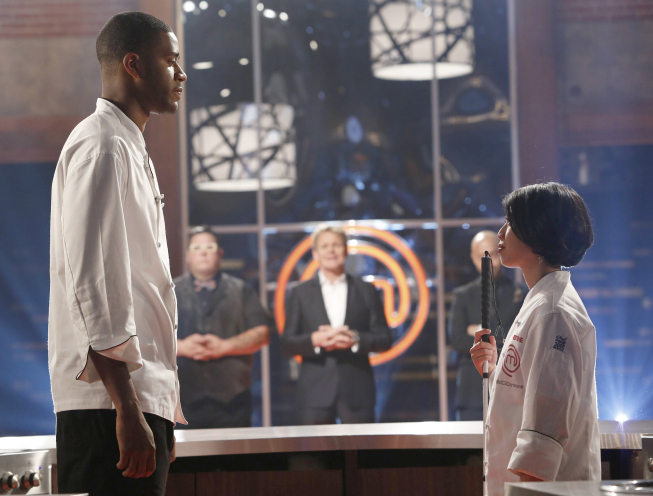 `MasterChef`: The top two finalists have one last chance to prove to the judges that they have the passion, skill and drive worthy of the title. The `Winner Chosen` season finale episode of `MasterChef` airs Monday, Sept. 10, on FOX. Pictured are Josh and Christine. (photo by Greg Gayne/FOX).