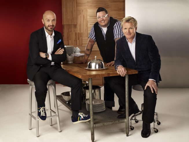 Pictured from `MasterChef`: Chef Gordon Ramsay (right); restaurateur and winemaker Joe Bastianich (left); and chef Graham Elliot (center). (photo ©2011 Fox Broadcasting Co./credit: Greg Gayne/FOX)