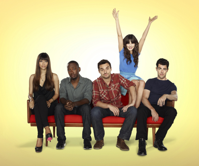 Zooey Deschanel stars as an `adorkable girl` who moves in with three single guys, changing their lives in unexpected ways. `New Girl` premieres Tuesday, Sept. 20, on FOX. Pictured from left: Hannah Simone, Lamorne Morris, Jake Johnson, Deschanel and Max Greenfield. (photo ©2011 Fox Broadcasting Co./credit: Autumn DeWilde/FOX)