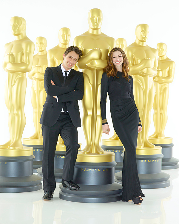 James Franco (left) and Anne Hathaway (right) will serve as co-hosts of the 83rd Academy Awards, Oscars telecast. Academy Awards for outstanding film achievements of 2010 will be presented on Sunday, Feb. 27, 2011, at the Kodak Theatre at Hollywood & Highland Center, and televised live as `The 83rd Annual Academy Awards` on the ABC Television Network. (photo © 2011 American Broadcasting Companies, Inc. All rights reserved.)