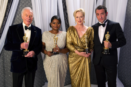Oscar-winning actor Christopher Plummer, winner for Performance by an Actor in a Supporting Role for his role in `Beginners`; Oscar-winning actress Octavia Spencer, winner for Performance by an Actress in a Supporting Role for her role in `The Help`; Oscar-winning actress Meryl Streep, winner for Performance by an Actress in a Leading Role for her role in `The Iron Lady`; Oscar-winning actor Jean Dujardin, winner for Performance by an Actor in a Leading Role for his role in `The Artist,` pose backstage. (Photo by Todd Wawrychuk ©A.M.P.A.S.)