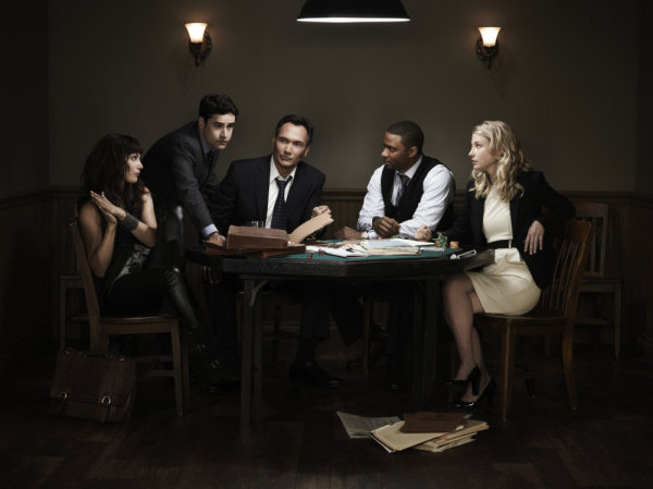 Pictured from `Outlaw`: Carly Pope as Lucinda Pearl, Jesse Bradford as Eddie Franks, Jimmy Smits as Cyrus Garza, David Ramsey as Al Druzinsky and Ellen Woglom as Mereta Sprows. (photo by Mitchell Haaseth/NBC)