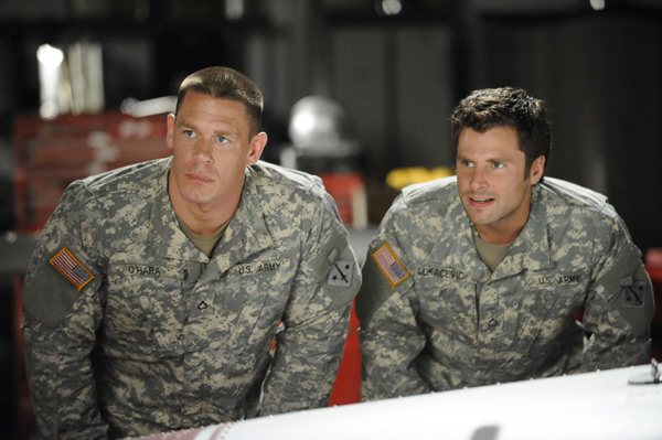 Pictured from `Psych` are John Cena and James Roday (USA Network photo by Alan Zenuk)