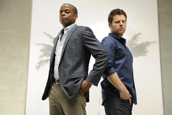 `Psych`: Pictured from left are Dule Hill as Gus Guster and James Roday as Shawn Spencer. (photo by Alan Zenuk/USA Network)