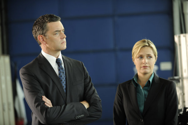 `Psych`: Timothy Omundson stars as Carlton Lassiter, and Maggie Lawson as Juliet O'Hara. (USA Network photo by Alan Zenuk)