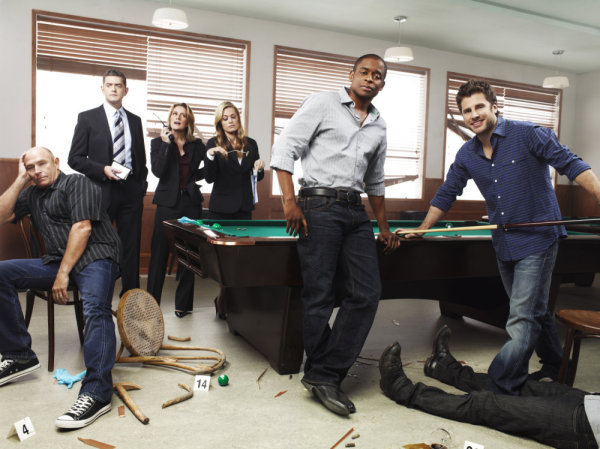 Pictured from `Psych` are Corbin Bernsen as Henry Spencer, Tim Omundson as Carlton Lassiter, Kirsten Nelson as Chief Karen Vick, Maggie Lawson as Juliet O'Hara, Dule Hill as Burton `Gus` Guster and James Roday as Shawn Spencer (USA Network photo by Williams & Hirakawa)