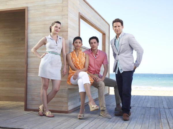 The cast of `Royal Pains` includes (from left) Jill Flint as Jill Casey, Reshma Shetty as Divya, Paulo Costanzo as Evan Lawson, and Mark Feuerstein as Dr. Hank Lawson (photo by Williams & Hirakawa/USA Network)