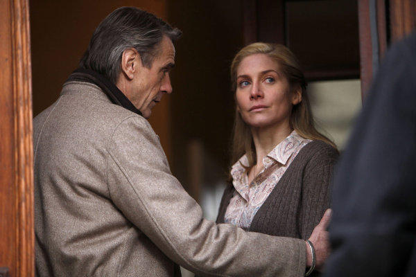 Pictured from `Law & Order: Special Victims Unit` are guest stars Jeremy Irons as Captain Jackson and Elizabeth Mitchell as June Frye. (photo by Will Hart/NBC)