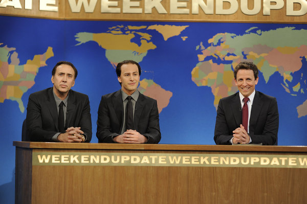 Seth Meyers and the `two Nicholas Cages.` (NBC Photo)