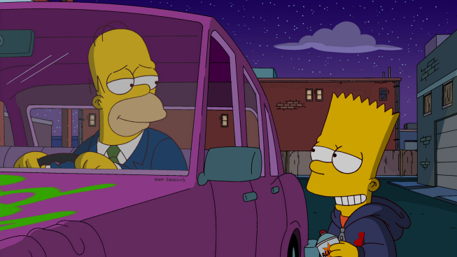 Homer and Bart Simpson in the `Exit Through the Kwik-E-Mart` episode of `The Simpsons`  on FOX. (THE SIMPSONS ™ and © 2012 TCFFC ALL RIGHTS RESERVED.)