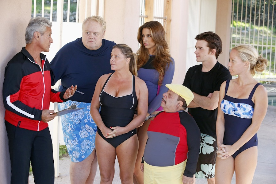 `Splash`: `Splash` marks the first time 10 celebrities will train and compete in regulation platform and springboard diving at dizzying heights in front of a weekly poolside audience. `Splash` premieres Tuesday, March 19 (8 p.m.), on ABC. Pictured, from left, are mentor Greg Louganis and divers Louie Anderson, Nicole Eggert, Katherine Webb, Chuy Bravo, Drake Bell and Kendra Wilkinson. (ABC photo by Kelsey McNeal)