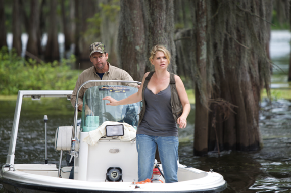 D.B. Sweeney and Kristy Swanson star in `Swamp Shark` on Syfy. (Syfy photo)