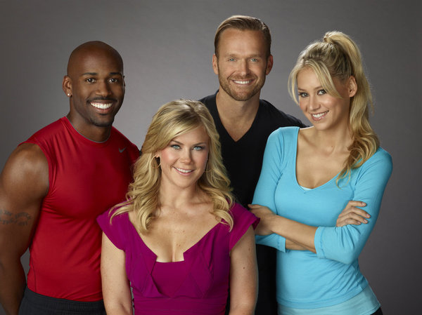 `The Biggest Loser` stars Dolvett Quince, Alison Sweeney, Bob Harper and Anna Kournikova. (photo by Chris Haston/NBC)