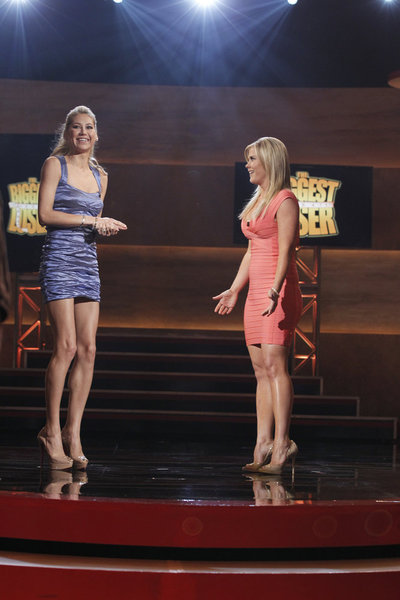 Pictured from left, new `TBL` trainer Anna Kournikova and show host Alison Sweeney. (NBC photo by Trae Patton)