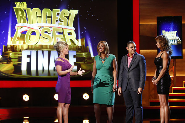 Pictured from `The Biggest Loser`: host Alison Sweeney and contestants Conda Britt, Jeremy Britt and Kim Nielsen. (photo by Trae Patton/NBC)