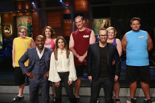 `The Biggest Loser`: Pictured from left are Jackson Carter, Dolvett Quince, Dannielle `Danni` Allen, Jillian Michaels, Joe Ostaszewski, Bob Harper, Gina McDonald and Jeff Nichols. (Photo by Trae Patton/NBC)