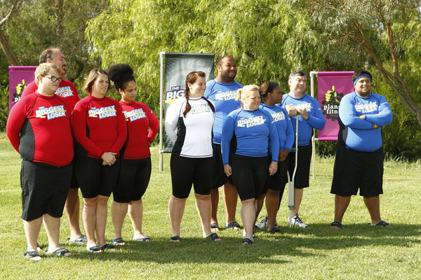 `The Biggest Loser` `Waist & Money` episode 1405: Pictured from left are Jackson Carter, Joe Ostaszewski, Lisa Rambo, Francelina Morillo, Dannielle `Danni` Allen, Michael Dorsey, Regina `Gina` McDonald, Alex Reid, David Jones and Jeff Nichols. (photo by Trae Patton/NBC)