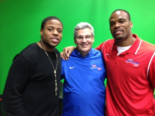 Tashard Choice, left, is pictured with Bob Koshinski and Fred Jackson.