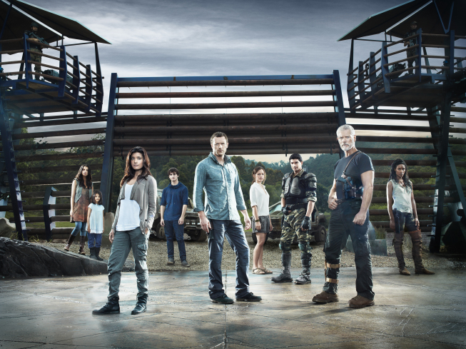 Pictured, from left, are `Terra Nova` stars Naomi Scott, Alana Mansour, Shelley Conn, Landon Liboiron, Jason O'Mara, Allison Miller, Mido Hamada, Stephen Lang and Christine Adams. The show will debut this fall on FOX. (photo ©2010 Fox Broadcasting Co./credit Michael Lavine/FOX)