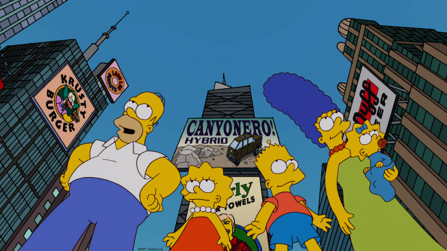 `The Simpsons`: The Simpsons family traveled to the Big Apple in the `Moonshine River` season premiere episode Sunday on FOX. (`The Simpsons`™ and © 2012 TCFFC. ALL RIGHTS RESERVED).