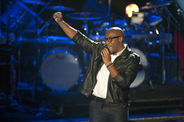 Pictured from `The Voice` is Anthony Evans. `The Voice` airs Monday at 8 p.m. on NBC. (Photo by: Lewis Jacobs/NBC)