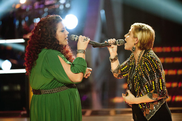 Erin Willet (left) and Gwen Sebastian perform in the `Battle Rounds` of `The Voice.` (photo by Lewis Jacobs/NBC)
