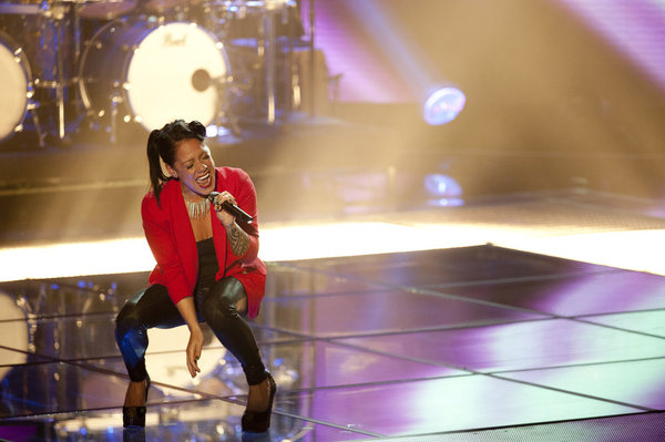Jordis Unga performs `Maybe I'm Amazed` on `The Voice.` (photo by Lewis Jacobs/NBC)