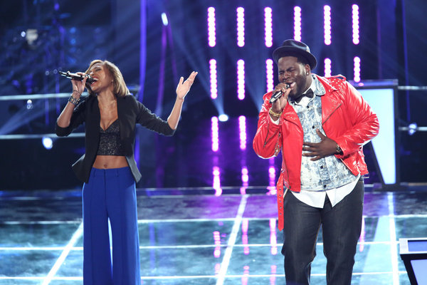 `The Voice`: Pictured in the `Battle Rounds` are Amanda Brown and Trevin Hunte. (photo by Tyler Golden/NBC)