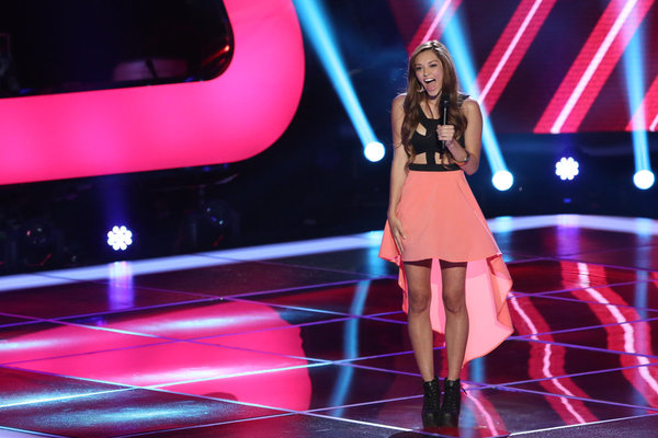 Devyn DeLoera performs on `The Voice` (photo by Tyler Golden/NBC)