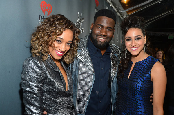 `The Voice Special Live Performance Event Celebrating Top 12 Artists`: Pictured, from left, are Amanda Brown, Trevin Hunte and Sylvia Yacoub. (photo by Frazer Harrison/NBC)