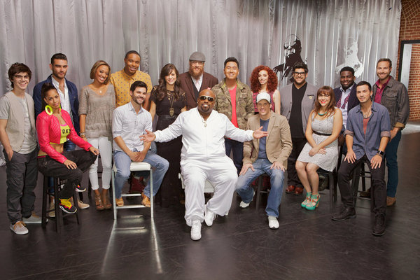 `The Voice`: Team CeeLo. Pictured from left: Mackenzie Bourg, Domo, Diego Val, Amanda Brown, Cody Belew, Avery Wilson, Emily Earle, Nicholas David, CeeLo Green, JR Aquino, Chevonne, Mycle Wastman, Daniel Rosa, Alexis Marceaux, Trevin Hunte, Ben Taub and Todd Kessler. (photo by Tyler Golden/NBC)