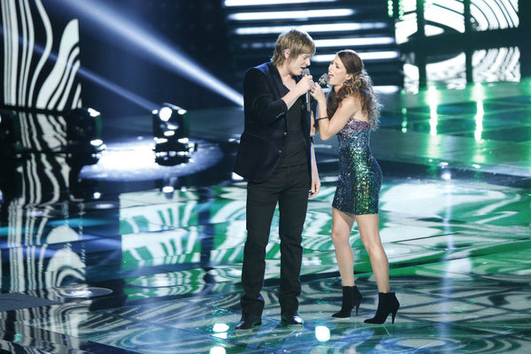 `The Voice`: Terry McDermott, performs with Cassadee Pope. (photo by Tyler Golden/NBC)