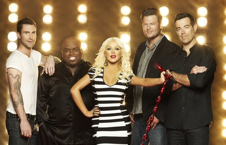 `The Voice` season three. Pictured from left are Adam Levine, CeeLo Green, Christina Aguilera, Blake Shelton and Carson Daly. (photo by Mark Seliger/NBC)