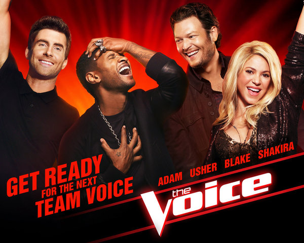 `The Voice`: Pictured from left are coaches Adam Levine, Usher, Blake Shelton and Shakira. (NBC photo)