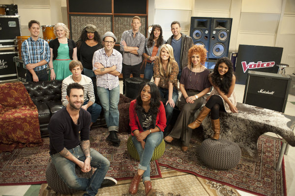 `Team Adam.` Pictured, from left: Philip Arnold, Katrina Parker, Nathan Parrett, Adam Levine, Kim Yarbrough, Tony Lucca, Orlando Napier, Angel Taylor, Karla Davis, Nicolle Galyon, Chris Cauley, Whitney Myer and Mathai. (photo by Lewis Jacobs/NBC)