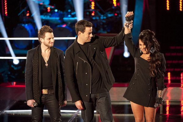 Jordis defeated Brian Fuente in the first `Battle Round` on `The Voice.` (photo by Lewis Jacobs/NBC)