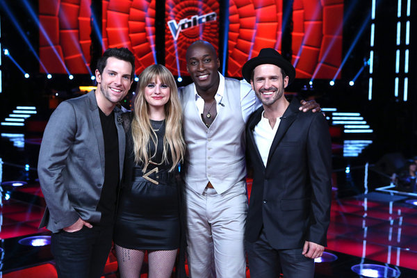 Pictured from `The Voice`: Chris Mann, Juliet Simms, Jermaine Paul and Tony Lucca. (photo by Justin Lubin/NBC)