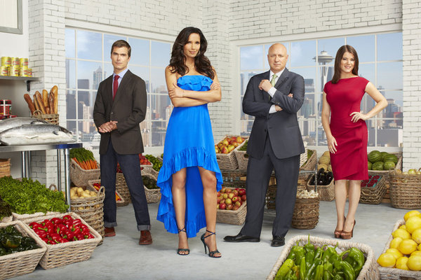 `Top Chef` season 10: Pictured from left are Hugh Acheson, Padma Lakshmi, Tom Colicchio and Gail Simmons. (photo by Matthias Clamer/Bravo)