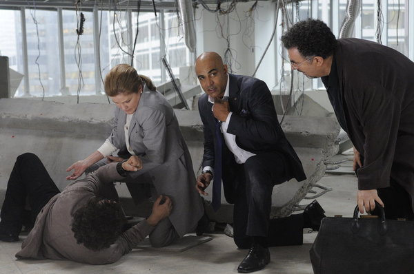 Pictured from `Warehouse 13` episode `The 40th Floor`: Kate Mulgrew as Jane Lattimer, Faran Tahir as Adwin Kosan and Saul Rubinek as Artie Nielsen. (photo by Steve Wilkie/Syfy)